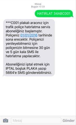 5664 Poliçe Hatırlatma Servisi